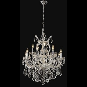 "Maria Theresa Collection 13-Light 27"" Chrome Chandelier with Clear Elegant Cut Crystal 2800D27C/EC"