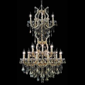 "Maria Theresa Collection 25-Light 30"" Gold Chandelier with Golden Teak Smoky Swarovski Strass Crystal 2800D30SG-GT/SS"