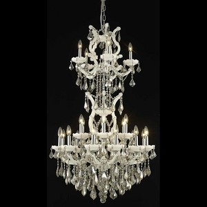 "Maria Theresa Collection 25-Light 30"" White Chandelier with Golden Teak Smoky Royal Cut Crystal 2800D30SWH-GT/RC"