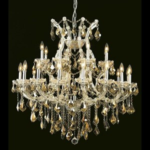 "Maria Theresa Collection 24-Light 36"" Chrome Chandelier with Golden Teak Smoky Swarovski Strass Crystal 2800D36C-GT/SS"