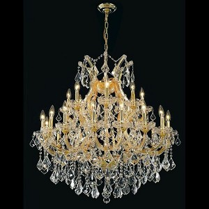 "Maria Theresa Collection 24-Light 36"" Gold Chandelier with Golden Teak Smoky Swarovski Strass Crystal 2800D36G-GT/SS"