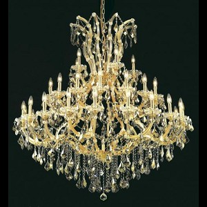 "Maria Theresa Collection 41-Light 52"" Gold Chandelier with Golden Teak Smoky Royal Cut Crystal 2800G52G-GT/RC"