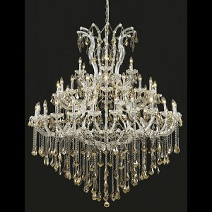 "Maria Theresa Collection 49-Light 60"" Chrome Chandelier with Golden Teak Smoky Royal Cut Crystal 2800G60C-GT/RC"
