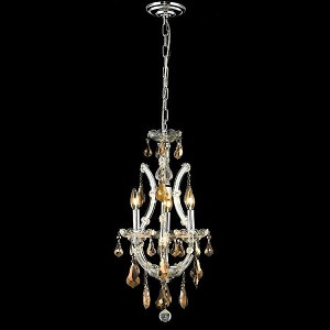 "Maria Theresa Collection 4-Light 12"" Chrome Mini Chandelier with Golden Teak Smoky Royal Cut Crystal 2801D12C-GT/RC"