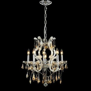 "Maria Theresa Collection 6-Light 20"" Chrome Chandelier with Golden Teak Smoky Royal Cut Crystal 2801D20C-GT/RC"