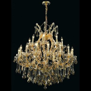 "Maria Theresa Collection 24-Light 36"" Gold Chandelier with Golden Teak Smoky Royal Cut Crystal 2801D36G-GT/RC"