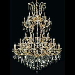 "Maria Theresa Collection 61-Light 54"" Gold Chandelier with Golden Teak Smoky Royal Cut Crystal 2801G54G-GT/RC"