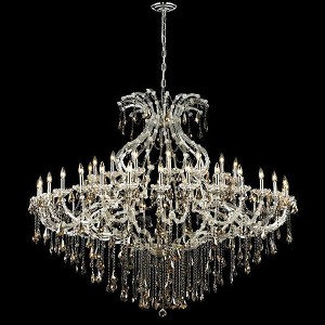 "Maria Theresa Collection 49-Light 72"" Chrome Chandelier with Golden Teak Smoky Royal Cut Crystal 2801G72C-GT/RC"