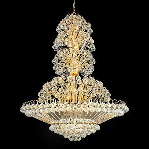 "Sirius Collection 33-Light 36"" Gold Chandelier with Clear Swarovski Spectra Crystal 2908G36G/SA"