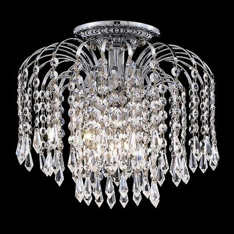 "Falls Collection 4-Light 16"" Chrome Semi Flush Mount with Clear Elegant Cut Crystal 6801F16C/EC"