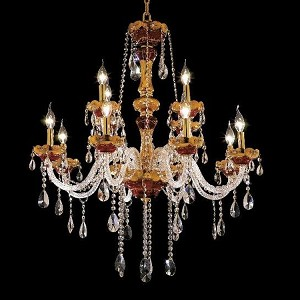 "Alexandria Collection 12-Light 33"" Gold Chandelier with Clear Royal Cut Crystal 7810G33G/RC"