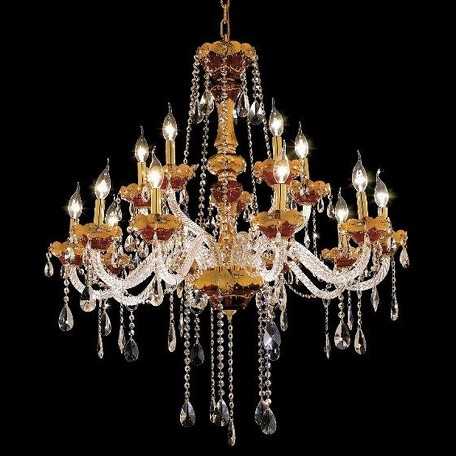 "Alexandria Collection 15-Light 35"" Gold Chandelier with Green Glass and Clear Swarovski Spectra Crystal 7810G35GN/SA"