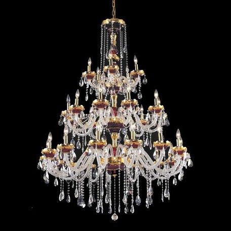 "Alexandria Collection 30-Light 45"" Gold Chandelier with Green Glass and Clear Elegant Cut Crystal 7810G45GN/EC"
