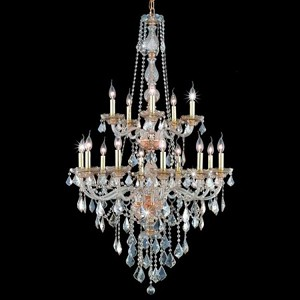 "Verona Collection 15-Light 33"" Golden Shadow Chandelier with Golden Shadow Champagne Swarovski Strass Crystal 7815G33GS-GS/SS"