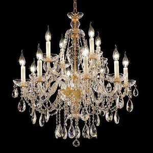 "Alexandria Collection 12-Light 28"" Gold Chandelier with Clear  Swarovski Strass Crystal 7829D28G/SS"