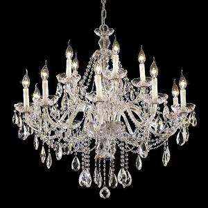 "Alexandria Collection 15-Light 35"" Chrome Chandelier with Clear Royal Cut Crystal 7829G35C/RC"