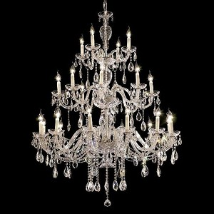 "Alexandria Collection 24-Light 45"" Chrome Chandelier with Clear Elegant Cut Crystal 7829G45C/EC"