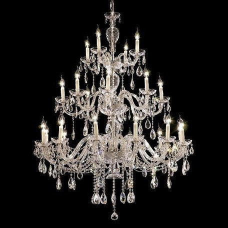 "Alexandria Collection 24-Light 45"" Chrome Chandelier with Clear  Swarovski Strass Crystal 7829G45C/SS"