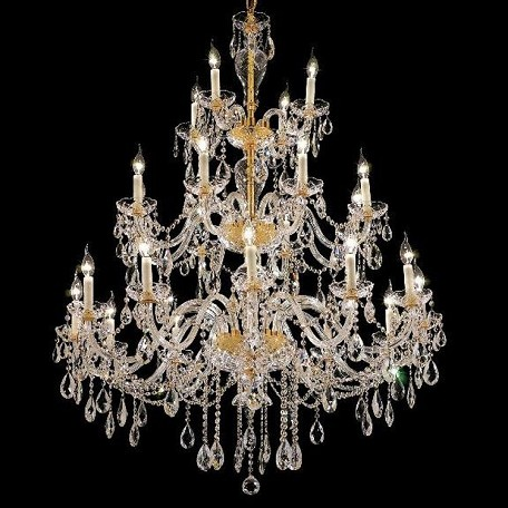 "Alexandria Collection 24-Light 45"" Gold Chandelier with Clear Swarovski Spectra Crystal 7829G45G/SA"