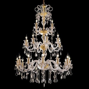 "Elizabeth Collection 24-Light 44"" Gold Chandelier with Clear Swarovski Spectra Crystal 7830G44G/SA"