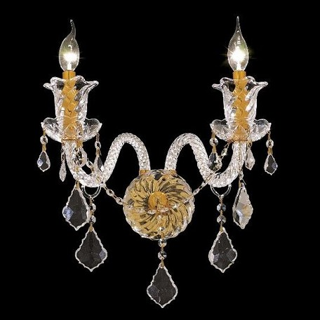 "Elizabeth Collection 2-Light 15"" Gold Wall Sconce with Clear Elegant Cut Crystal 7830W2G/EC"