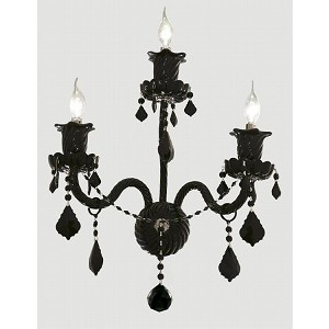 "Elizabeth Collection 3-Light 14"" Jet (Black) Wall Sconce with Jet Black Swarovski Strass Crystal 7830W3B/SS"