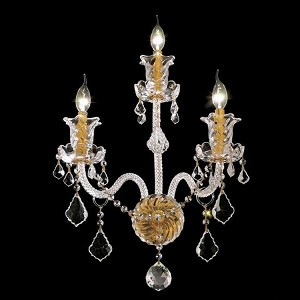 "Elizabeth Collection 3-Light 14"" Gold Wall Sconce with Clear Elegant Cut Crystal 7830W3G/EC"