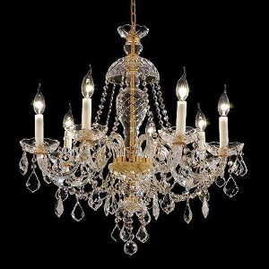 "Alexandria Collection 7-Light 26"" Gold Chandelier with Clear  Swarovski Strass Crystal 7831D26G/SS"