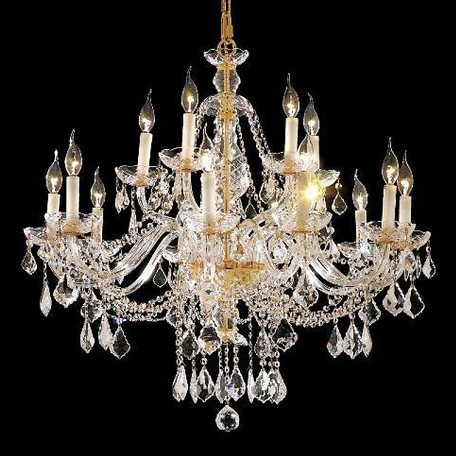 "Alexandria Collection 15-Light 35"" Gold Chandelier with Clear Elegant Cut Crystal 7831G35G/EC"