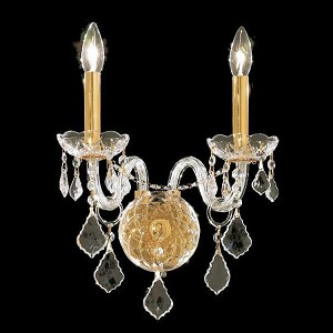 "Alexandria Collection 2-Light 13"" Gold Wall Sconce with Clear Swarovski Spectra Crystal 7831W2G/SA"