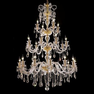 "Elizabeth Collection 24-Light 44"" Gold Chandelier with Clear Swarovski Spectra Crystal 7832G44G/SA"