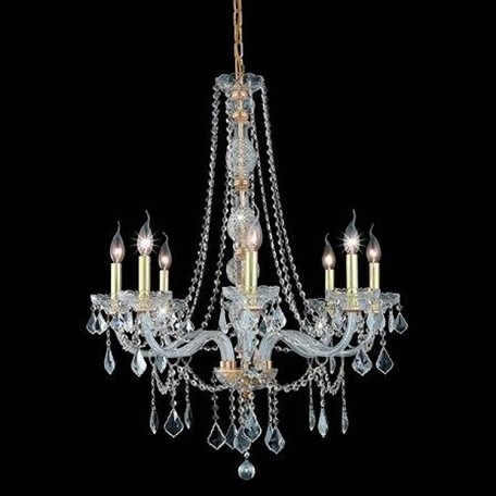 "Verona Collection 8-Light 28"" Gold Chandelier with Clear Elegant Cut Crystal 7858D28G/EC"