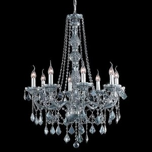 "Verona Collection 8-Light 28"" Gray Chandelier with Silver Shade Grey Swarovski Strass Crystal 7858D28SS-SS/SS"