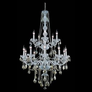 "Verona Collection 15-Light 33"" Chrome Chandelier with Golden Teak Smoky Royal Cut Crystal 7915G33C-GT/RC"