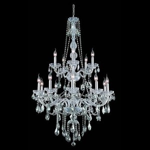 "Verona Collection 15-Light 33"" Chrome Chandelier with Clear Elegant Cut Crystal 7915G33C/EC"