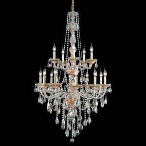 "Verona Collection 15-Light 33"" Golden Shadow Chandelier with Golden Shadow Champagne Royal Cut Crystal 7915G33GS-GS/RC"