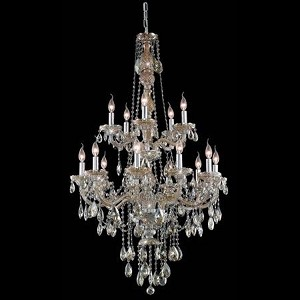 "Verona Collection 15-Light 33"" Golden Teak Chandelier with Golden Teak Smoky Royal Cut Crystal 7915G33GT-GT/RC"
