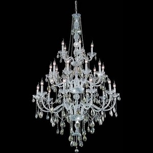 "Verona Collection 25-Light 43"" Chrome Chandelier with Golden Teak Smoky Royal Cut Crystal 7925G43C-GT/RC"