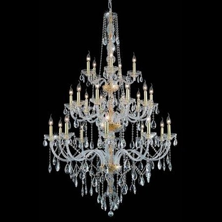 "Verona Collection 25-Light 43"" Gold Chandelier with Clear Elegant Cut Crystal 7925G43G/EC"