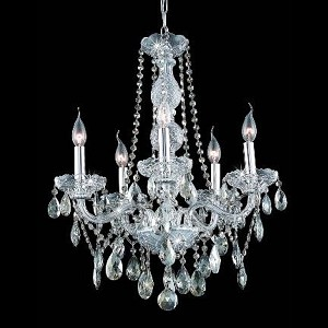 "Verona Collection 5-Light 21"" Chrome Chandelier with Golden Teak Smoky Royal Cut Crystal 7955D21C-GT/RC"