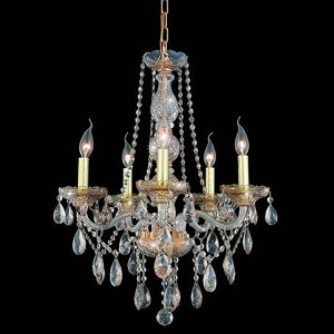 "Verona Collection 5-Light 21"" Golden Shadow Chandelier with Golden Shadow Champagne Royal Cut Crystal 7955D21GS-GS/RC"