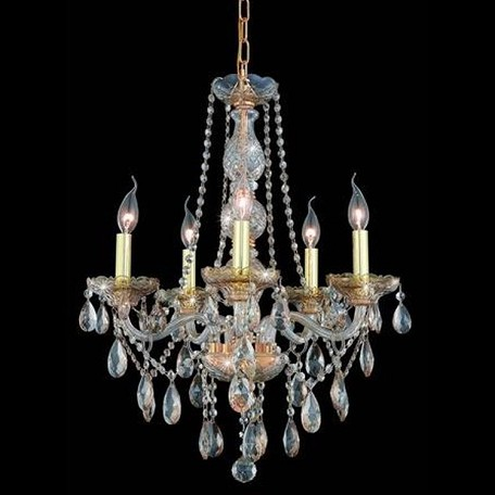 "Verona Collection 5-Light 21"" Golden Shadow Chandelier with Golden Shadow Champagne Swarovski Strass Crystal 7955D21GS-GS/SS"