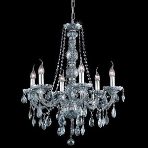 "Verona Collection 6-Light 24"" Gray Chandelier with Silver Shade Grey Swarovski Strass Crystal 7956D24SS-SS/SS"
