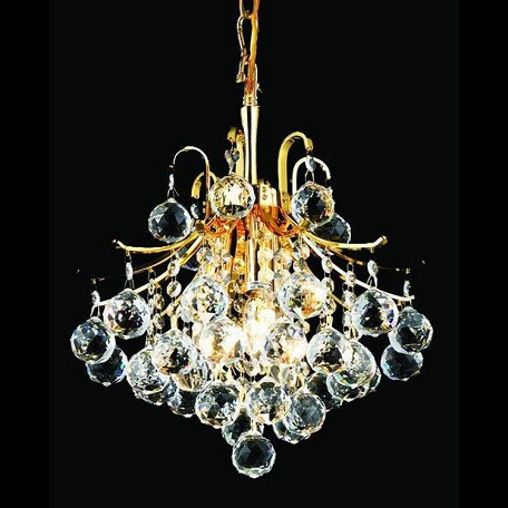 "Toureg Collection 3-Light 12"" Gold Mini Chandelier with Clear Elegant Cut Crystal 8000D12G/EC"