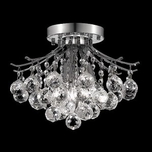 "Toureg Collection 3-Light 12"" Chrome Semi Flush Mount with Clear  Swarovski Strass Crystal 8000F12C/SS"