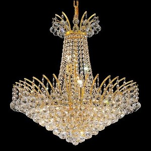 "Victoria Collection 11-Light 24"" Gold Chandelier with Clear Elegant Cut Crystal 8031D24G/EC"