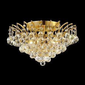 "Victoria Collection 6-Light 16"" Gold Semi Flush Mount with Clear Swarovski Spectra Crystal 8031F16G/SA"