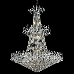 "Victoria Collection 18-Light 32"" Chrome Chandelier with Clear Elegant Cut Crystal 8031G32C/EC"