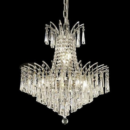 "Victoria Collection 8-Light 19"" Chrome Chandelier with Clear  Swarovski Strass Crystal 8032D19C/SS"