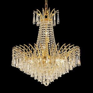 "Victoria Collection 11-Light 24"" Gold Chandelier with Clear  Swarovski Strass Crystal 8032D24G/SS"